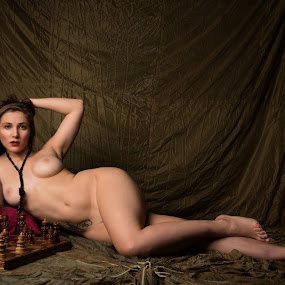 Wanna play Chess ? by Tom Fensterseifer - Nudes & Boudoir Artistic Nude ( centerfold, silk, nude, queen, chess, playboy,  )