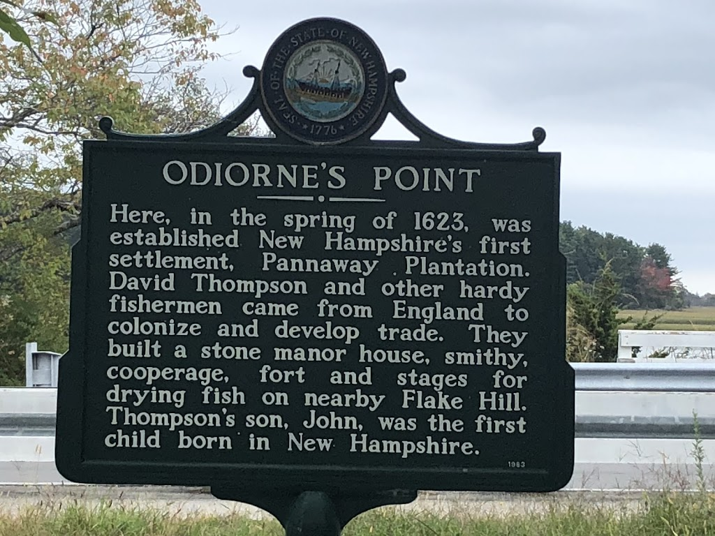 ODIORNE'S POINT Here, in the spring of 1623, was established New Hampshire's first settlement, Pannaway Plantation. David Thompson and other hardy fishermen came from England to colonize and ...