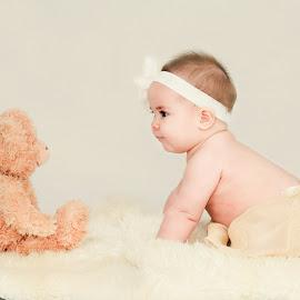 Emma and her Teddy by Jenny Hammer - Babies & Children Babies ( girl, teddy bear, precious, baby, cute )