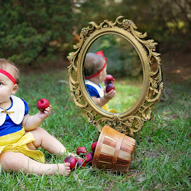 Snow White by Jeannie Meyer - Babies & Children Child Portraits ( mirror, reflection, baby girl, apples, poison apple, toddler, fairest of them all )