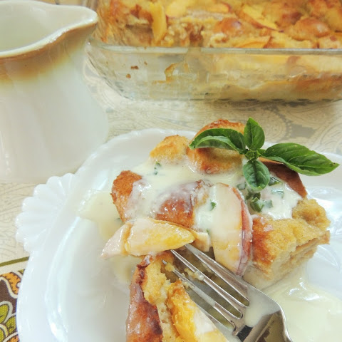 Peach Bread Pudding with Sweet Basil Cream