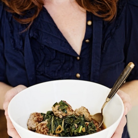 Asian Pork Meatballs with Braised Winter Greens