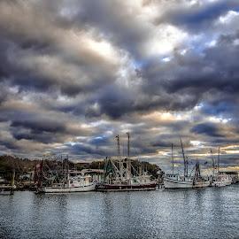 by Kelley Hurwitz Ahr - Transportation Boats ( clouds, shrimp, boats, shrimp boat, sunset set, transportation, january 2016, south carolina )