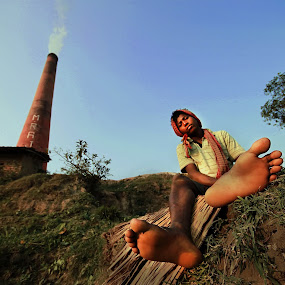 DESTINY by NEELANJAN BASU - Novices Only Portraits & People ( labor, brick-field, life, blue, foot, destiny,  )