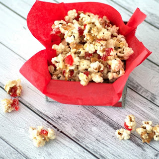 White Chocolate Cherry Toffee Popcorn
