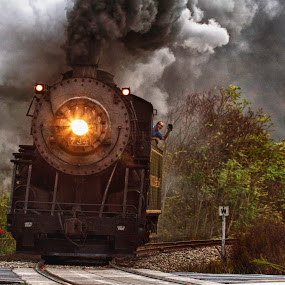 The Greeting by Donna Neal - Transportation Trains ( steam train, mountain thunder )