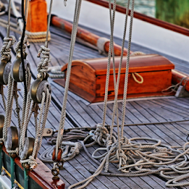 Decks and rigging by Neil H - Transportation Boats ( samson post, traditional boat, traditional yacht, teak deck, yacht, blocks, boat, foredeck, deadeye, spinnaker pole, mast, halyards, wooden, varnish, rigging, chalked decking, hatch, ropes, deck, shrouds,  )