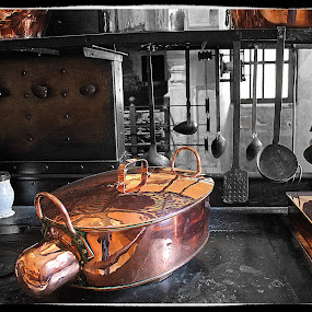 Kitchen at Chenonceau by Pam Blackstone - Digital Art Places ( pans, stove, copper, ladles, utensils, kitchen, pots, cast iron, wood stove,  )