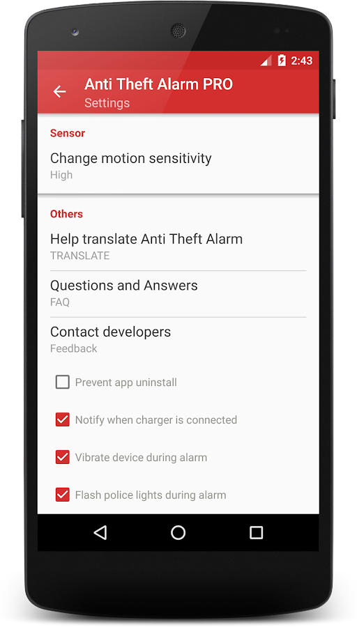 Anti-Theft Alarm PRO Screenshot 2