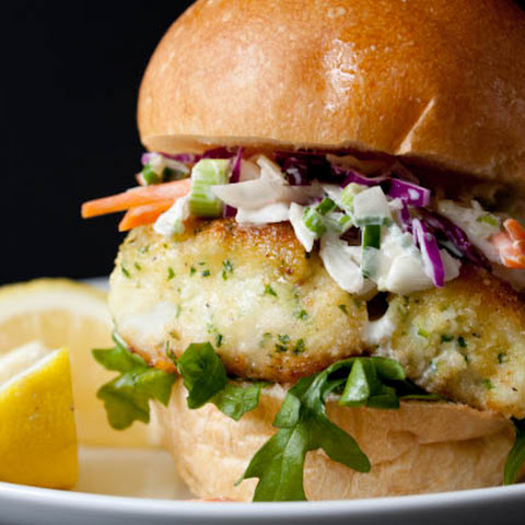 Lighter Fried Fish Sandwich Recipe with Creamy Coleslaw
