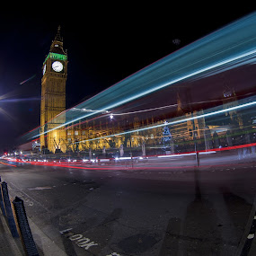 Big Ben Lights by Dimitri Foucault - Travel Locations Landmarks ( pwclandmarks, london, night, big, ben, light, city )