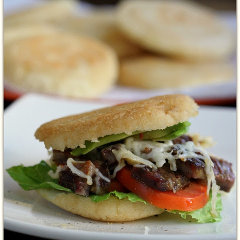 Steak Arepas with Mozzarella, Tomato and Avocado