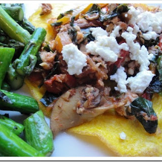 Italian Salmon (or Mushrooms) with Greens and Goat Cheese