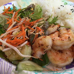 Shrimp plate with GF salad dressing