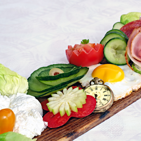 Breakfast time by Opreanu Roberto Sorin - Food & Drink Fruits & Vegetables ( fried egg, diet, breakfast, cottage cheese, olives close up, space, green olives, bacon slice, zucchini, ham slice, fresh, old pocket watch, fresh cheese, copy, meal, white silk background, orange, wooden platter, cucumber slice, salami slice, tomato slice, plate, table, delicious, morning, lettuce leaf, sweet, food, healthy,  )