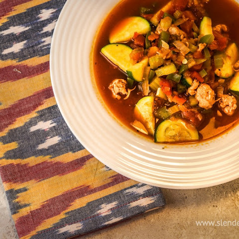 Zucchini and Tomato Soup with Sausage
