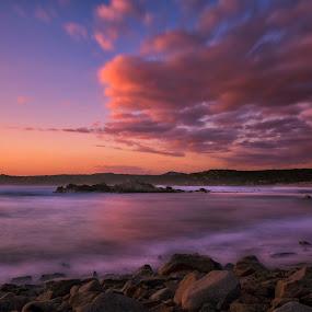 Rena Majori Beach by Maurizio Mameli - Landscapes Sunsets & Sunrises ( clouds, sand, sky, sunset, cloud, sea, beach, seascape, landscape, sardiniacolors, rocks, sun )