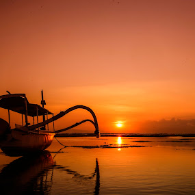 Sunrise at Sanur Bali beach by JudiEndjun Ultrasound - Transportation Boats