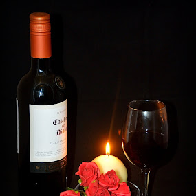 by Bob White - Food & Drink Alcohol & Drinks ( wine, candle, romantic, roses,  )