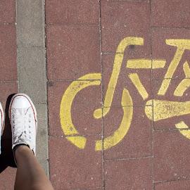 Walking by Tina Blagušević - Transportation Bicycles ( walking, bike, park, converse, croatia, white, yellow, walk, city )