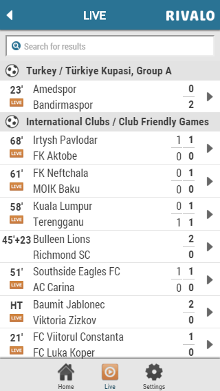 Rivalo Livescore Screenshot 1