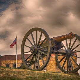 Cannon with American flag in background by Jackie Nix - Digital Art Things ( clouds, mutany, america, american flag, civil war, high dynamic range, historic, cannon, history, ohio, metal, weapon, artistic, cloudy, graphic art, defiance )