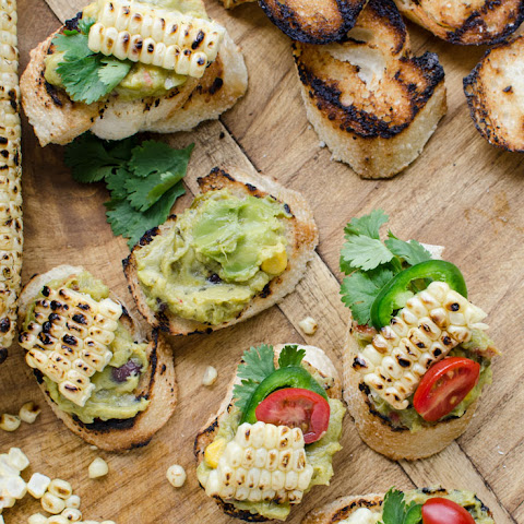 Guacamole and Grilled Corn Crostinis OR Mexican Guacamole Bruschetta