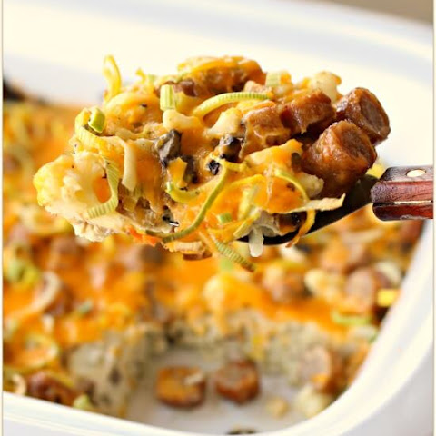 Slow Cooker Breakfast Casserole with Eggs, Sausage, Cheese, Leeks, Mushrooms and Cauliflower