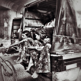Lets Change Our Ride by Tarun Jha - Transportation Other ( poor girls, indian street photography, indian transportation system, rikshaw, auto rikshaw, black & white, street girls, indian girls, indian transport system )