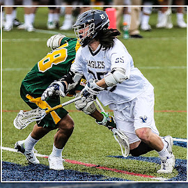 Face-Off by Elk Baiter - Sports & Fitness Lacrosse ( green terror, face-off, umw, university of mary washington, midfielder, eagles, lacrosse, mcdaniel college )