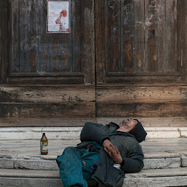 Taking a nap by Dubravka Krickic - People Street & Candids ( beer, church, venice, door, sleeping, welcome, man, pope )