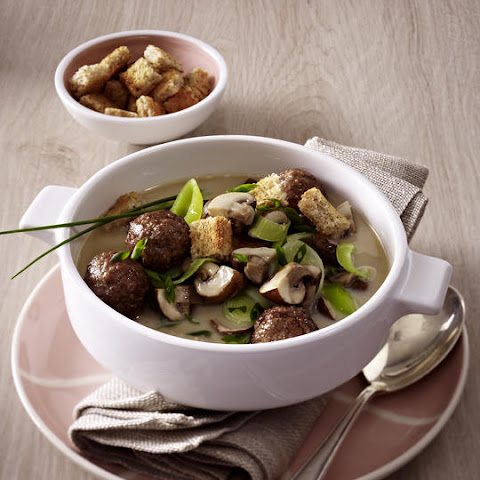 Mushroom and Leek Soup with Meatballs