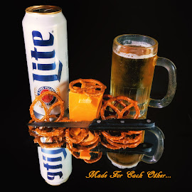 Pretzles and Beer by Dave Walters - Typography Captioned Photos ( beer, still life, artistic, miller lite, cheese, pretzles, typography, lumix fz2500 )