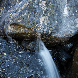 Waterfall coming out of rock by Scott Thomas - Nature Up Close Rock & Stone ( rock, rocks, nature, waterfall, water )
