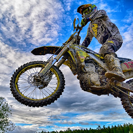 Friday the 13th ! by Marco Bertamé - Sports & Fitness Motorsports ( clouds, speed, white, number, yellow, 13, race, noise, jump, flying, sky, motocross, blue, grey, air, high )
