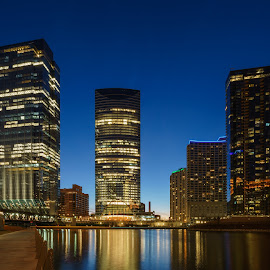 Glass Towers by Vinod Kalathil - City,  Street & Park  Skylines ( skyline, reflection, blue hour, chicago, river )