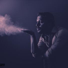 Studio Portrait by Asad Ali - People Portraits of Men ( studio, black and white, dark, people, smoke, portrait )