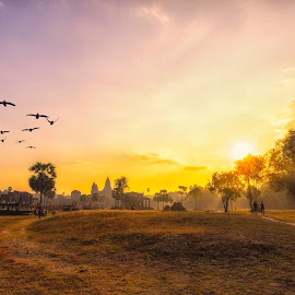 sun rise over the Angkor Temple  by Kitty Bern - Buildings & Architecture Places of Worship ( temple, sunrise, angkor wat, cambodia, siem reap )