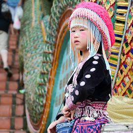 Little princess by Gonzalo Ruiz - Babies & Children Children Candids ( girl child, makeup, dress, tribe, thailand, traditional, lisu, chiang mai, custom )