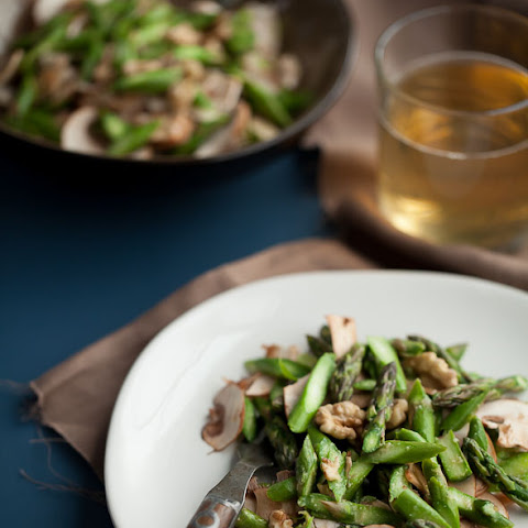 Raw Asparagus and Mushroom Salad with Walnuts and Miso Dressing