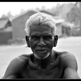 by Partha Pratim Hazari - People Portraits of Men ( old, novice, village, black and white, oldman )