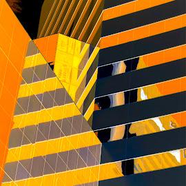 Abstract negativity by Gene Myers - Abstract Patterns ( shotsbygene, abstract, orange, reflection, building, negative photo, windows, gene myers )