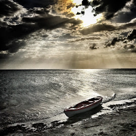 Beached by Lorna Littrell - Instagram & Mobile iPhone ( clouds, sea and sand, row boat, beach, boat )