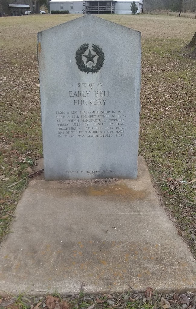 Site of an Early Bell Foundry From a log blacksmith shop in 1854 grew a bell foundry owned by G. A. Kelly which manufactured cowbells widely used by pioneer ox-team freighters. Later the Kelly plow, ...