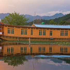 House boat on Dal Lake by Krishnan Naganathan - Buildings & Architecture Office Buildings & Hotels ( srinagar, dal lake, hotel in srinagar, cedar wood, india, house boat, himalayas )
