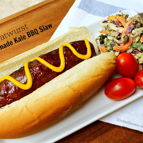 Grilled Bratwurst with Homemade Kale Barbecue Slaw
