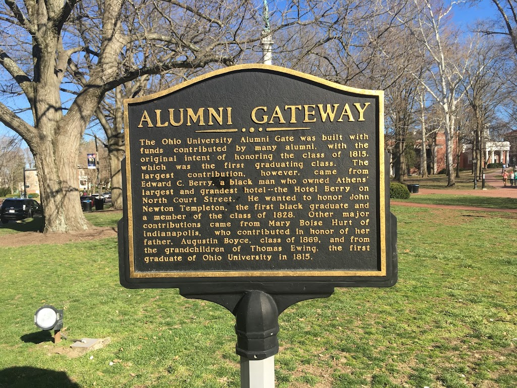 ALUMNI GATEWAY    The Ohio University Alumni Gate was built with funds contributed by many alumni, with the original intent of honoring the class of 1815, which was the first graduating class. The ...