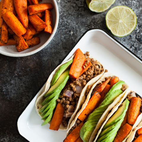 Cumin Roasted Carrot and Lentil Tacos