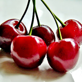 CHERRIES by Wojtylak Maria - Food & Drink Fruits & Vegetables ( tasty, red, food, fruits, cherries )