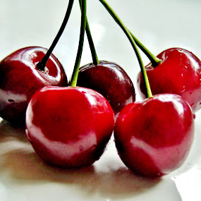 CHERRIES by Wojtylak Maria - Food & Drink Fruits & Vegetables ( tasty, red, food, fruits, cherries,  )